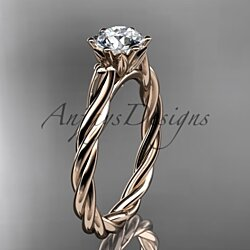 "14k rose gold rope engagement ring with a ""Forever One"" Moissanite center stone RP835"