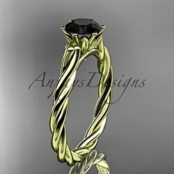 14k yellow gold rope engagement ring with a Black Diamond center stone RP835