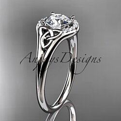 "14kt white gold celtic trinity knot engagement ring, wedding ring with a ""Forever One"" Moissanite center stone CT791OSY"