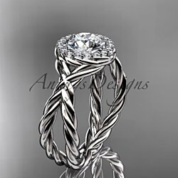 14kt white gold diamond rope engagement ring RP889
