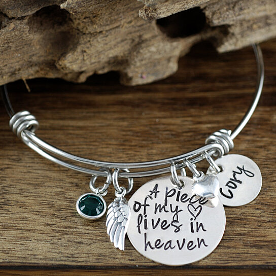 A Piece Of My Heart Lives In Heaven Personalized Charm Bracelet Memorial Miscarriage Remembrance Loss Child By Annie Reh