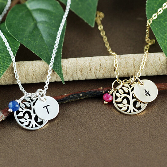 f36092cb7073b Silver Initial Tree Necklace, Personalized Gold Initial Necklace, Tree of  Life Jewelry, Birthstone Necklace, Dainty Family Tree Necklace