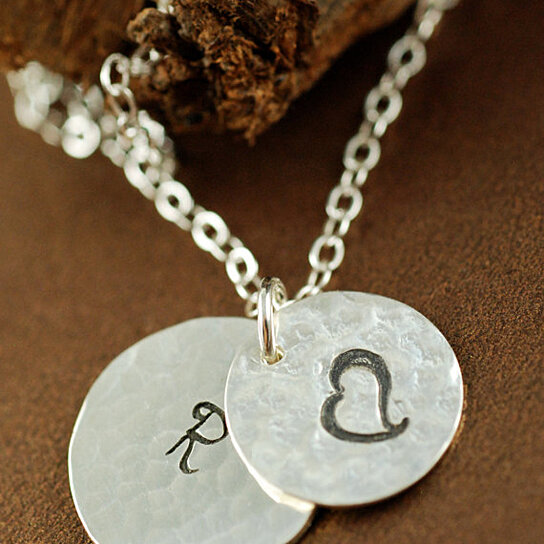 Buy hand stamped intial neckalce initial jewelry large