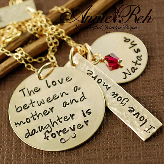 Buy Hand Stamped Necklace Personalized Jewelry Mother Daughter Necklace Gold Personalized