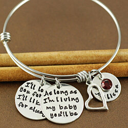 I'll love you forever, I'll like you for always Personalized Silver Bangle Bracelet