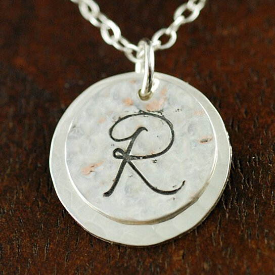 Buy initial jewelry hand stamped intial neckalce large
