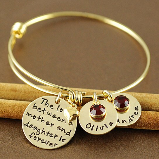 Mother Daughter Or Son Personalized Gold Bangle Charm Bracelet Alex And Ani Style By Annie Reh Designs On Opensky