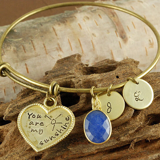 Design Your Own Custom Bangle Charm Bracelet Pick Your Charms: Buy Personalized Bangle Bracelet, You Are My Sunshine
