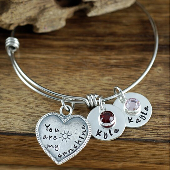 charms creek personalized bangle stoney bracelets bagel engraving bangles products image