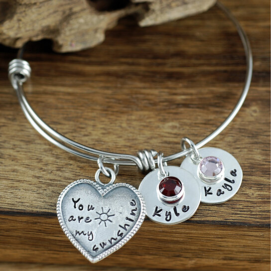 loved bangles bracelets customize family grandma products custom in mom your this name silver stamped personalized you hand sterling are bangle charm charms bracelet