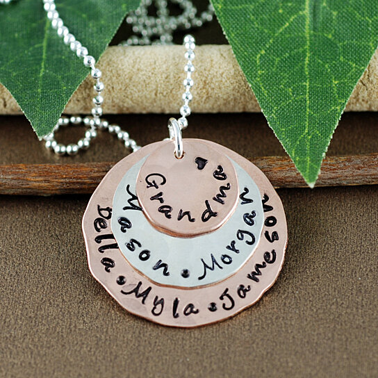 255a11c04 Trending product! This item has been added to cart 22 times in the last 24  hours. Personalized Grandma Necklace | Hand Stamped ...