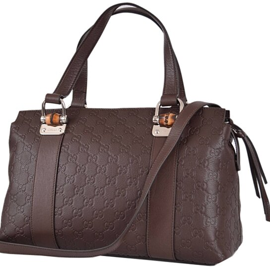 48952a624ef Trending product! This item has been added to cart 26 times in the last 24  hours. New GUCCI Brown Leather Bamboo GG Guccissima Convertible Purse ...
