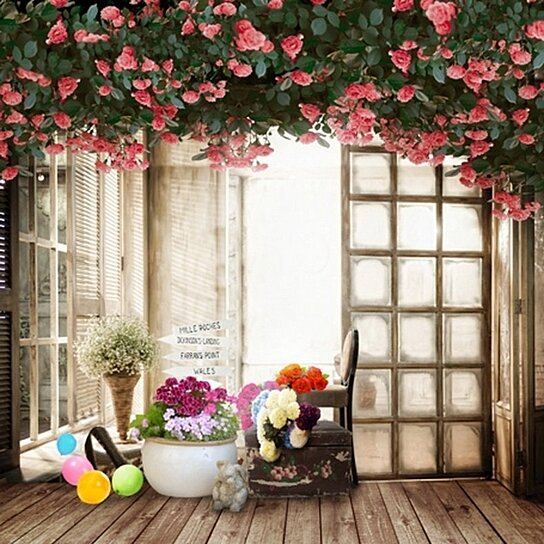 Wooden Floor Flowers Photography Backdrops Photo Props Studio Background 5x7ft
