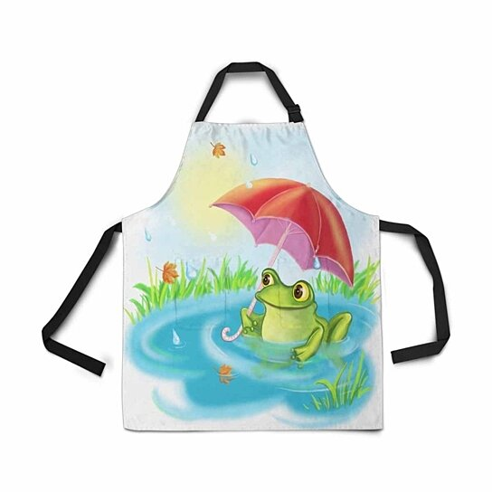 Buy Adjustable Bib Apron With Pockets Cartoon Happy Green Frog Umbrella Novelty Kitchen For Cooking Baking By Ann Pekin On Opensky