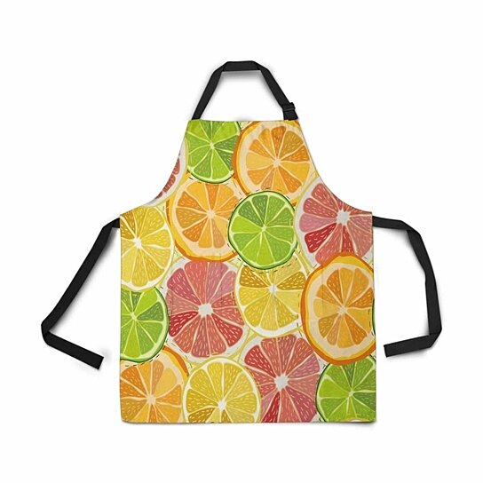 Buy Adjustable Bib Apron With Pockets Color Citrus Orange Juicy Fruit Grapefruit Lemon Lime Novelty Kitchen Apron By Ann Pekin Pekin On Dot Bo