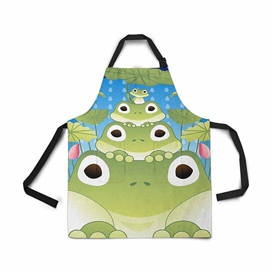 Buy Adjustable Bib Apron With Pockets Happy Summer Story Funny Frog Lotus Flower Green Leaves Kitchen By Ann Pekin On Dot Bo