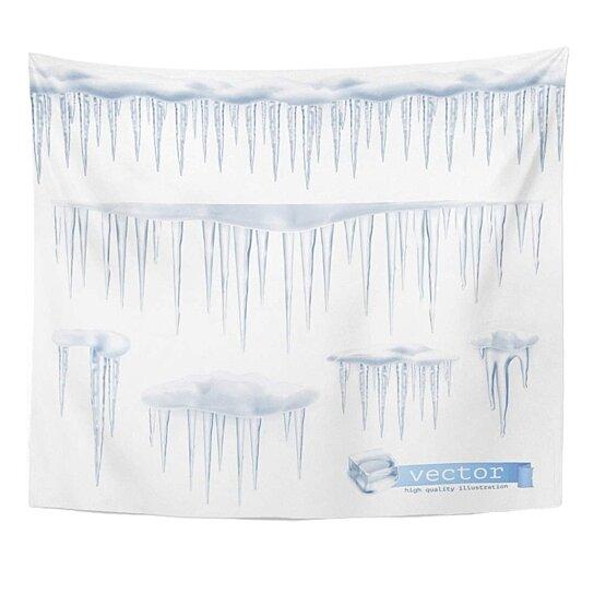 Buy Border White Ice Icicles Blue Snow Freezer Winter Frost Icy Melt Wall Art Hanging Tapestry 60x80 Inch By Ann Pekin Pekin On Dot Bo