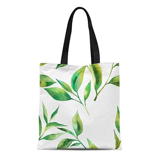 Buy Canvas Tote Bag Green Leaf Tea Leaves Watercolor Painting Pattern Drawing Garden Reusable Shoulder Grocery Shopping Bags Handbag By Ann Pekin Pekin On Dot Bo