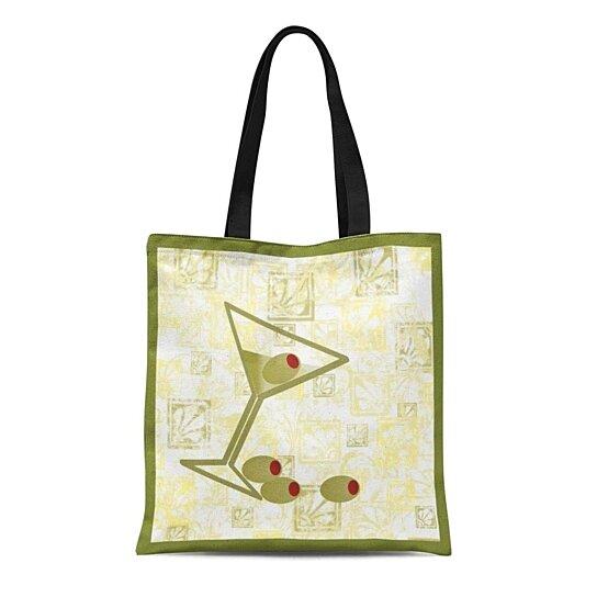 Classic Tote Market Bag Retro 50/'s Style Cotton Martini Print Tote Bag