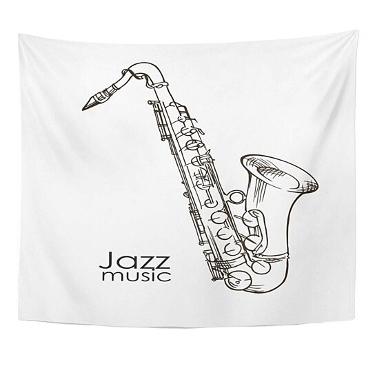Buy Drawn Black Drawing Saxophone Doodle Sketch White Sax Hand Wall Art Hanging Tapestry 51x60 Inch By Ann Pekin Pekin On Dot Bo