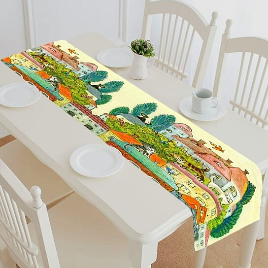 Colorful Cat Table Runner