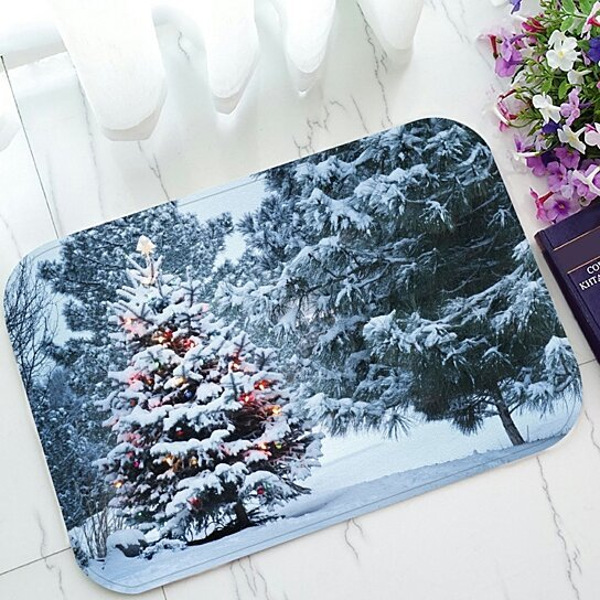 Buy Landscape Nature Scenery Doormat Snow Covered Christmas Tree