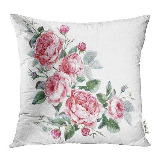 Buy Pink Flower Classical Vintage Floral Watercolor Bouquet Of English Roses Beautiful Pillow Cases Cushion Cover 16x16 Inch By Ann Pekin Pekin On Dot Bo