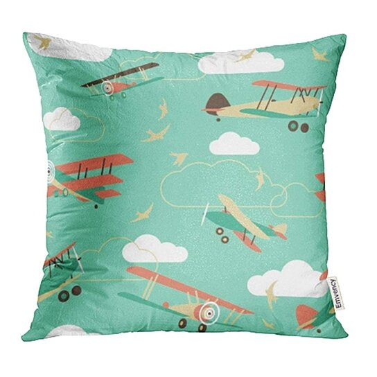 Buy Plane Of Vintage Airplanes Sky Cartoon Cloud Old Flying Retro Transport Pillow Cases Cushion Cover 16x16 Inch By Ann Pekin Pekin On Dot Bo