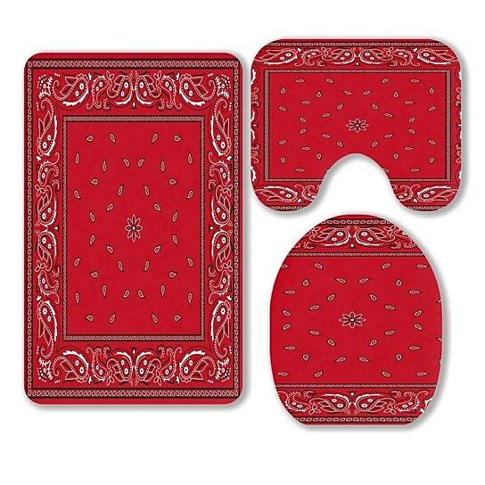 Buy Red Bandana 3 Piece Bathroom Rugs Set Bath Rug Contour Mat And Toilet Lid Cover By Ann Pekin On Dot Bo