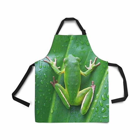 Buy White Lipped Tree Frog On Green Leaves Apron With Pockets Adjustable Bib Kitchen Cook For Cooking Baking By Ann Pekin Dot Bo