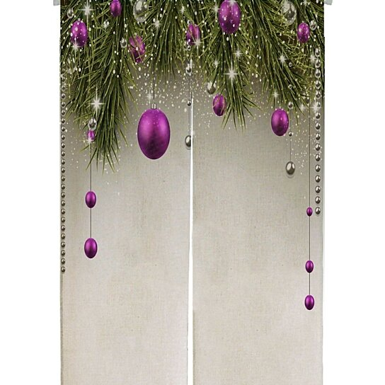 Buy Winter Spruce Twigs Purple Baubles Christmas Japanese Noren Curtain Doorway Door Window Treatment Curtains Cotton Linen Curtain By Ann Pekin Pekin On Dot Bo