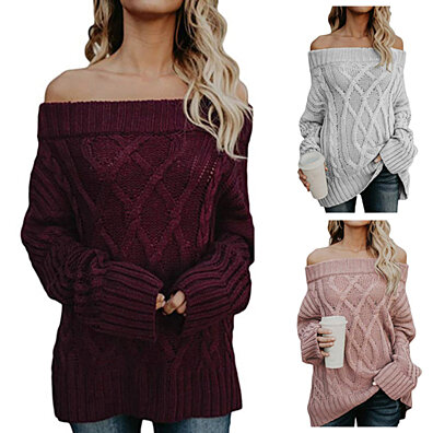 324607b71ad3e7 Chic Women Winter Pullover Knitted Long Sleeve Off-Shoulder Loose Sweater  Top