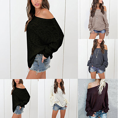 6c15e931f6f0be Sexy Loose Knitted Sweater Off Shoulder Long Sleeve Casual Women Top Blouse