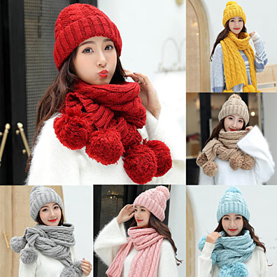 35a102be Winter Women Solid Color Pompom Warm Thick Knitted Hat Beanie Cap Scarf Set