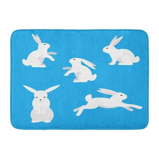 Buy Animal Pink Bunny White Rabbits On Blue Silhouette Cartoon Rug Doormat Bath Mat 23 6x15 7 Inch By Wallis Flora On Dot Bo