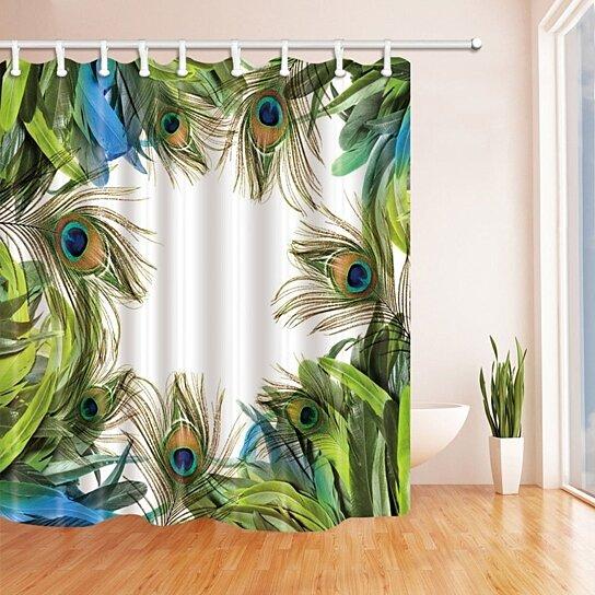 Waterproof Fabric Peacock Feather Blue Green Shower Curtain Bathroom Decor Mat
