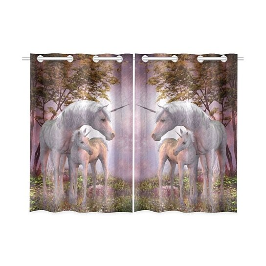 Buy Fantasy Unicorn Window Kitchen Curtain Mare And Foal Window Treatment Panel Curtains 26x39 Inches Set Of 2 By Wallis Flora On Dot Bo