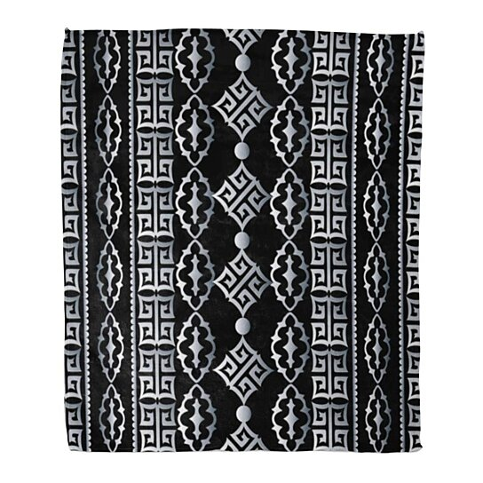 Buy Flannel Throw Blanket Striped Geometric Black White Greek Key Meander And Vintage Soft For Bed Sofa And Couch 50x60 Inches By Wallis Flora On Dot Bo