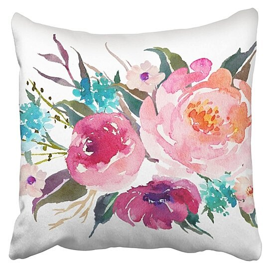 Buy Floral Turquoise Pink Watercolor Bouquet Pillowcase Cushion Cover 20x20 Inch By Wallis Flora On Dot Bo