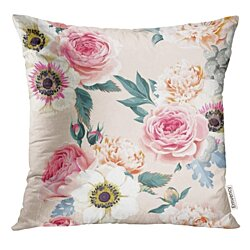 Floral Wedding Flowers Vintage Romantic Throw Pillowcase Cushion Case Cover