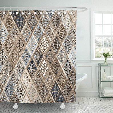 Buy Gray Argyle Slate Blue Brown Sari Mosaic Pattern Tan Bathroom Decor Bath Shower Curtain 66x72 Inch By Wallis Flora On Dot Bo
