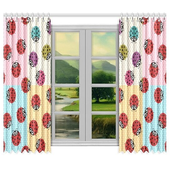 Buy Ladybug Thermal Insulated Blackout Window Curtain Kitchen Curtain 52x84 Inch Set Of 2 By Wallis Flora On Dot Bo