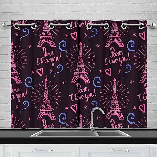 Buy Pairs I Love You Window Curtain Kitchen Curtains Window Treatments 26x39 Inch Set Of 2 By Wallis Flora On Dot Bo