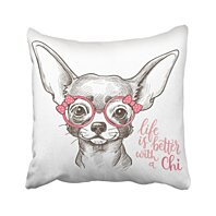 Details about  /Screen Printed Whimsical Posh Female Chihuahua Girl Dog Pillow Made in USA NWT