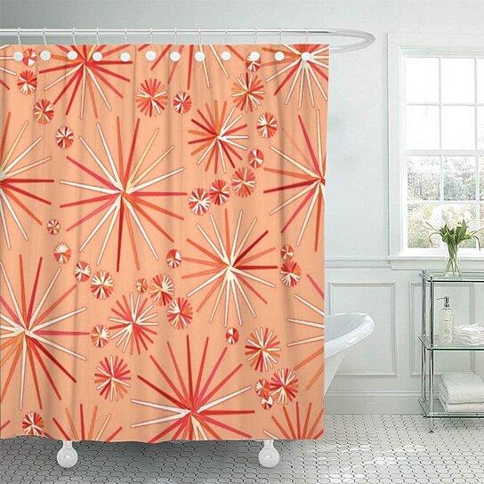 pink modern mid century sputnik pattern of coral orange bathroom decor bath shower curtain 60x72 inch