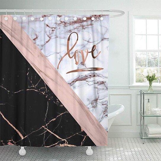 Love Gold Black Stripe Bathroom Decor