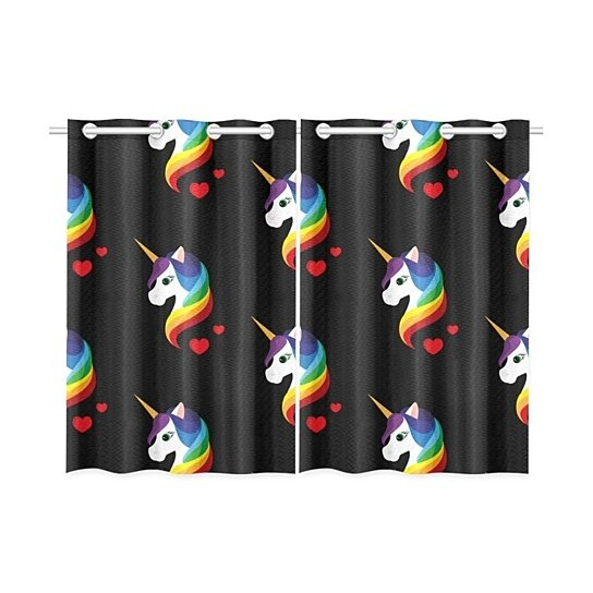 Buy Rainbow Unicorn Blackout Window Curtain Kitchen Curtain 26x39 Inch 2 Panels By Wallis Flora On Dot Bo