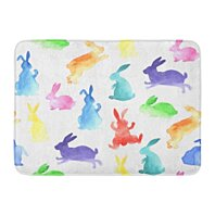 Buy Red Animals Blue Bunny Rainbow Watercolor Rabbits Pattern Pink Easter Celebrations Rug Doormat Bath Mat 23 6x15 7 Inch By Wallis Flora On Dot Bo