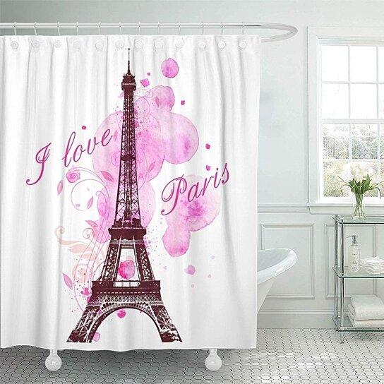 Buy Red Paris Romantic Pink Watercolor Blots and Eiffel ...