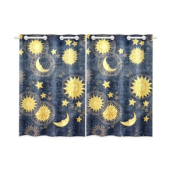 Buy Retro Style Window Kitchen Curtain Golden Moon And Sun Treatment Panel Curtains 26x39 Inches Set Of 2 By Wallis Flora On Opensky